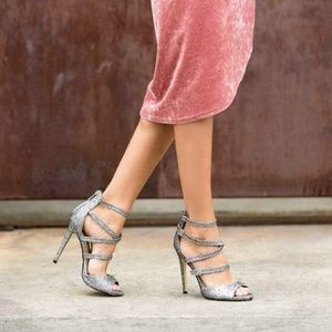 NWB Shoedazzle Sparkly Glimmer Strappy Heels
